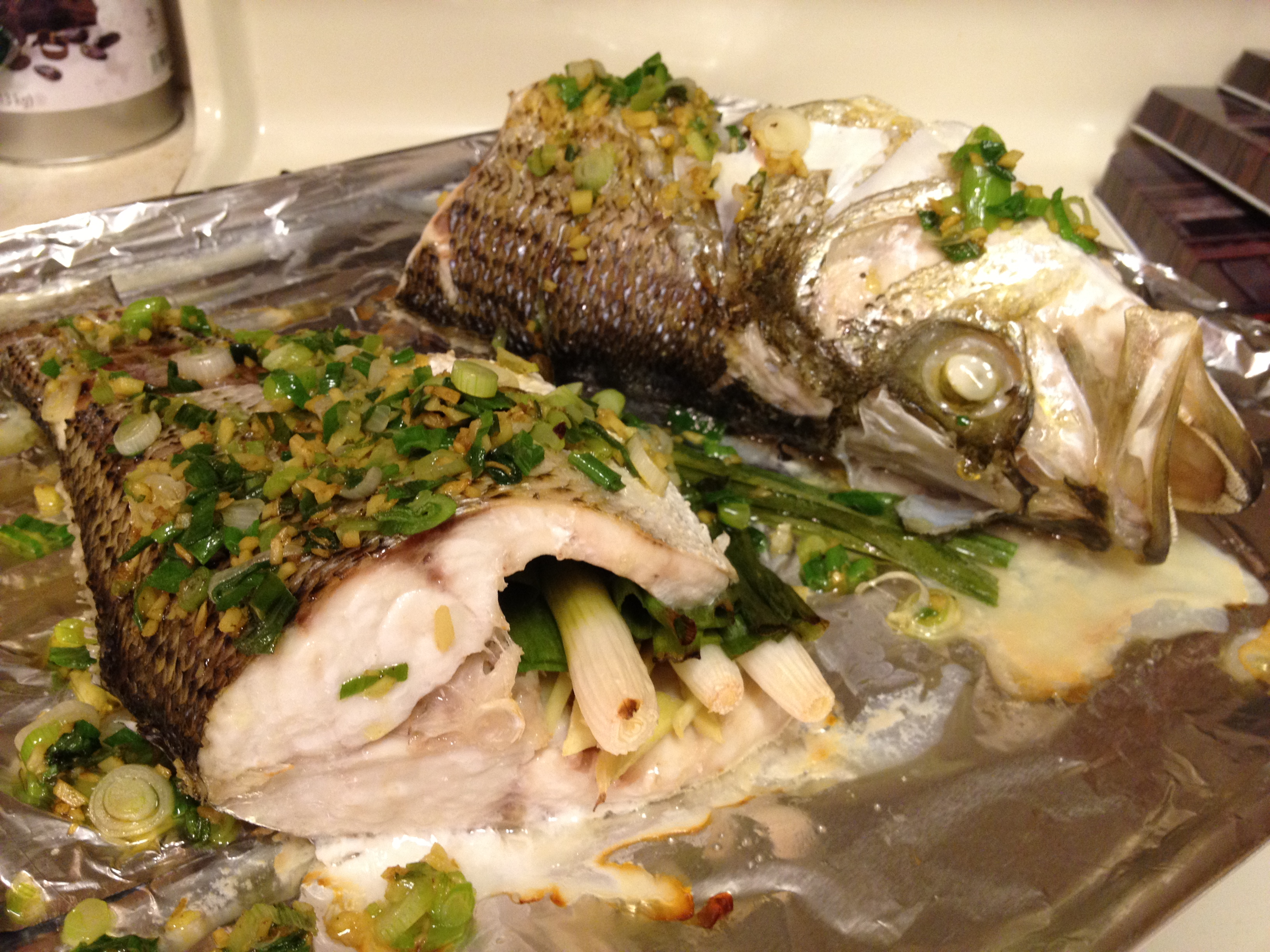 baked bluefish whole